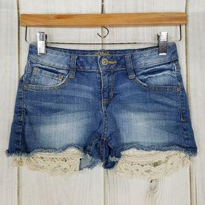 Arizona Jean Co. Distressed Lace Jean Shorts